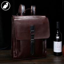 ETONWEAG New 2016 men famous brands cow leather vintage laptop travel school bags brown cover luxury fashion backpacks
