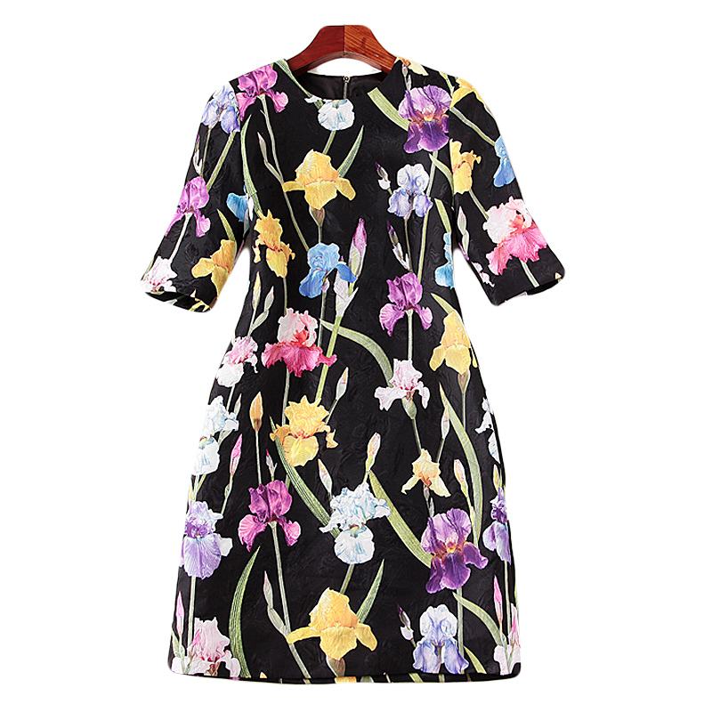 Milan Plage Élégant Boho De Nouvelles Robes 2018 Chic Haute Mode Imprimer Multi Designer Sexy Vintage Automne Qualité Courte Partie Femmes Robe fnWz75O