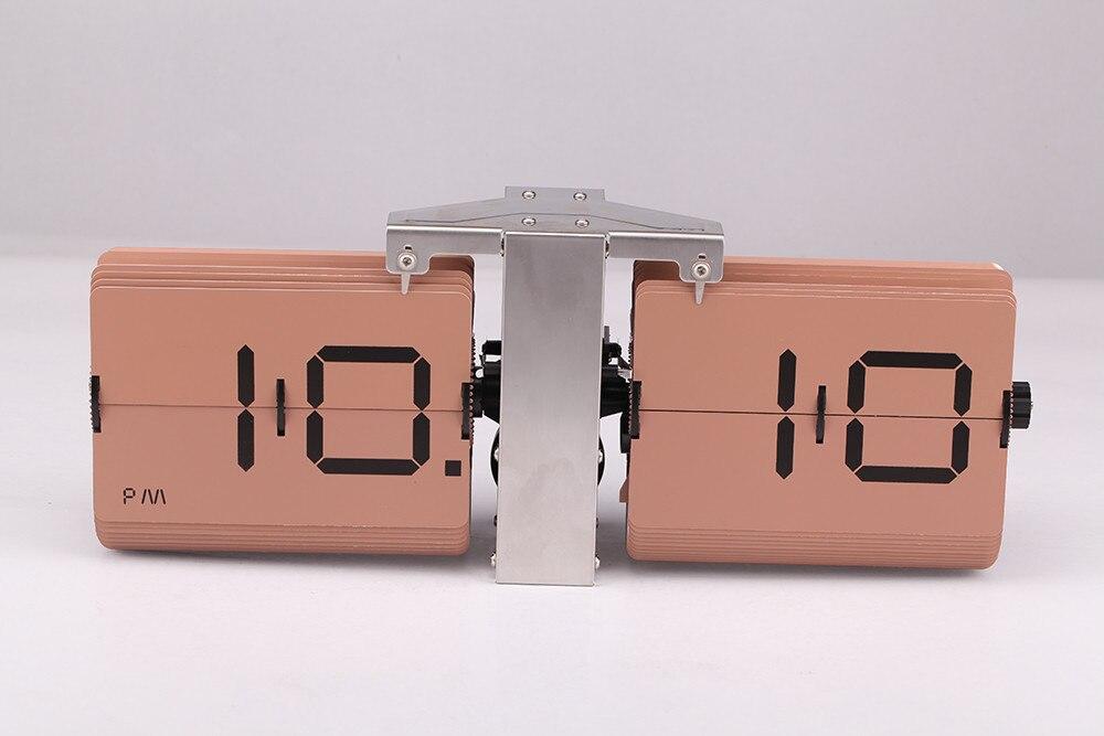 2018 cadeau créatif rétro numérique Auto Flip horloge en acier inoxydable cadran à engrenages à Quartz horloge Unique moderne horloges de bureau - 4