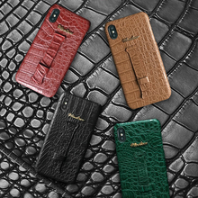 Genuine Leather Wrist Strap Phone Case For iPhone 11 Pro 6s 6 7 8 Plus X XS Max XR Luxury Crocodile Skin Hand Holder Cover