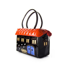 Rhyme 2017 manual black cartoon house hand bag Creative design handbag messenger bag Brand Casual Clutch Hand Bag shoulder bag