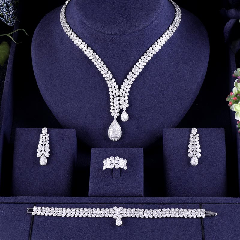 jankelly Nigeria Bridal Zirconia For Women Party Luxury Dubai Necklace Earringa Rings CZ Crystal Wedding Jewelry Innrech Market.com
