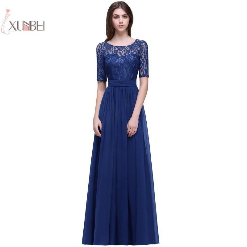 New Chiffon Lace Elegant Long Prom Dresses Half Sleeve Prom Gown 2019 Vestido De Festa Longo New