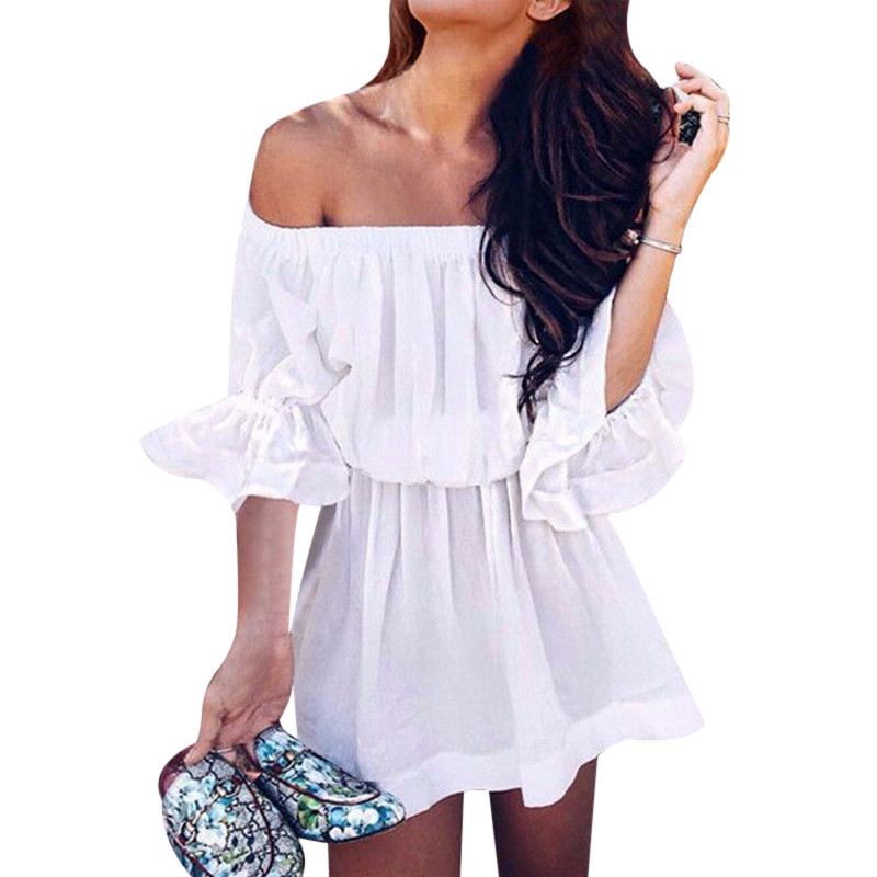 Off Shoulder Ladies Elegant Chiffon Dresses 2018 Summer Ruffle Tunic Dress For Women Half Flare Sleeve Beach Wear Robe Femme