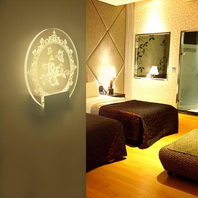 Acrylic Love LED With Wire Wall Mount Cabinet Lamp Led Art Lamp Gift ...