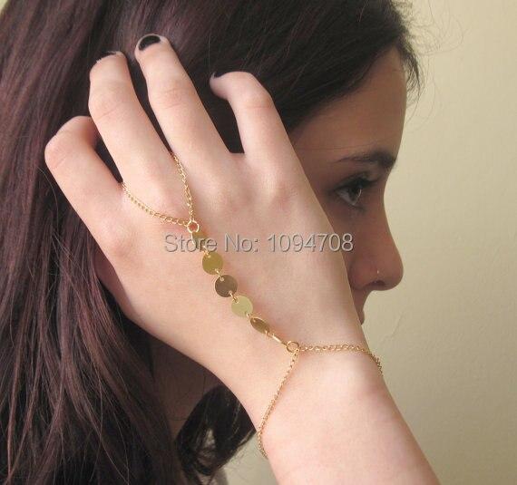 Sl 207 Hand Chain Bracelet Gold Color Slave Finger
