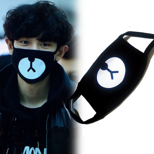 New Entry Chan Fir EXO Chanyeol Same Style Lucky Bear Black Mouth Mask Kpop Cool