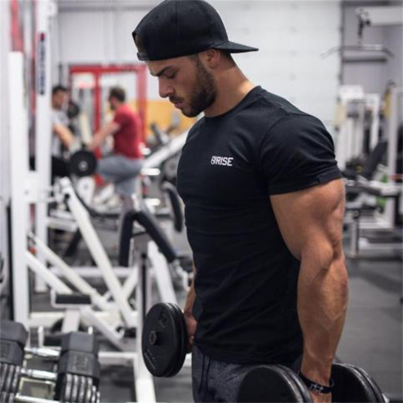 Men gym Professional training t shirt Fitness Bodybuilding short sleeve cotton shirts workout clothes Crossfit tee tops clothing strength training