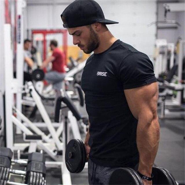 Hommes gym formation Professionnelle t-shirt Fitness Musculation chemises  en coton à manches courtes vêtements a05b6557914