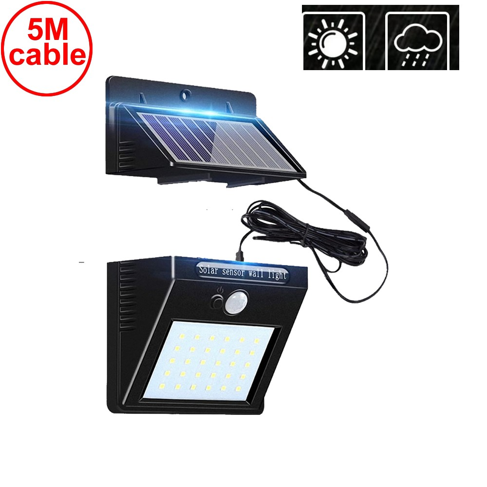 30 Led Solar Light Detachable Panel Waterproof IP65 Outdoor Lamp For Garden Yard Door Lawn Patio Lantern Security Emergency Deck