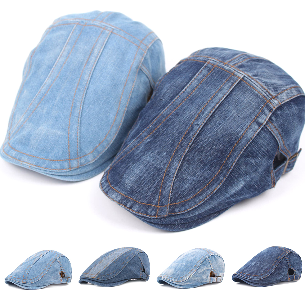 1PC Fashion Handsome Denim Beret Hat Casual Men Women's Vintage Sunscreen Cabbie Ivy Flat Caps Blue Color Outdoor Sports Caps
