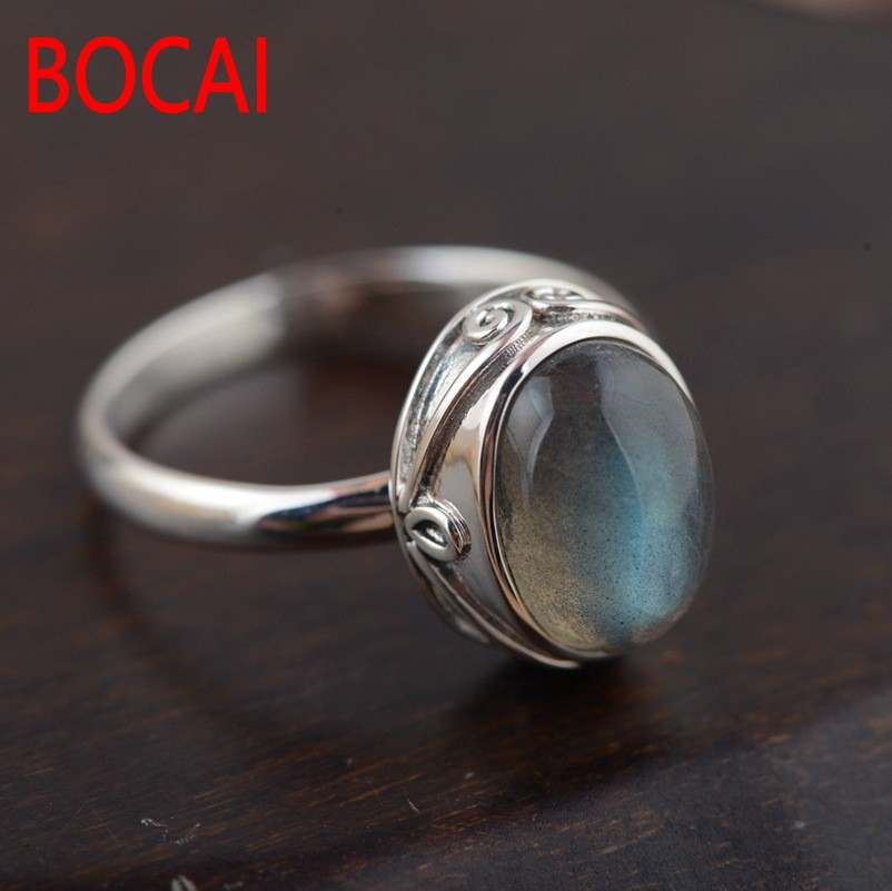 silver jewelry wholesale Natural moonstone White pan blue Contracted egg-shaped Fashionable sterling silver ring леска sufix super 21 fluorocarbon 0 28 мм 150 м 5 4 кг кусачки rcdmc