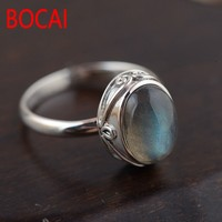 silver jewelry wholesale Natural moonstone White pan blue Contracted egg shaped Fashionable sterling silver ring