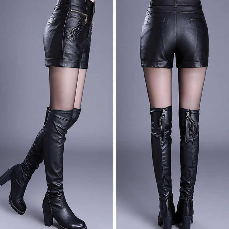 a856dcc09e10 ... 2019 Newnew winter pu leather shorts women boots high waist fashion  shorts female black leather shorts