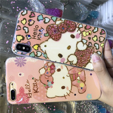 Cute Cartoon Hello Kitty Case Cover for iPhone 7 8 6 6s Plus X Blue light Pink Cat Phone Cases Texture Soft Silicone Girls