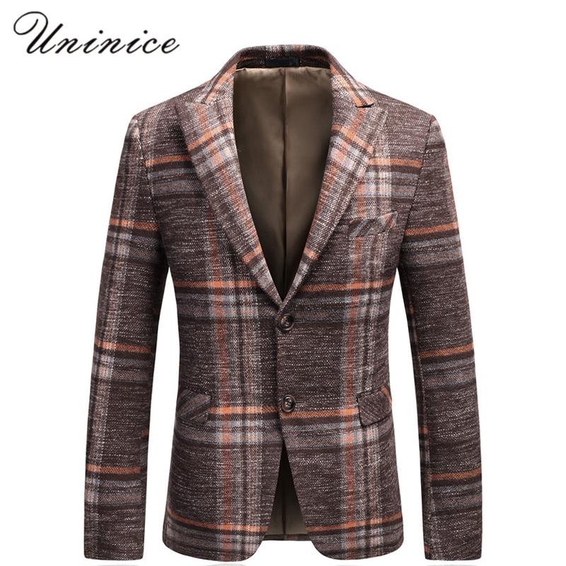 Autumn Spring New Mens Slim Suits Young Korean Fashion Leisure Suit Blazer Big Plaid Cotton Formal Gentleman Business Coats