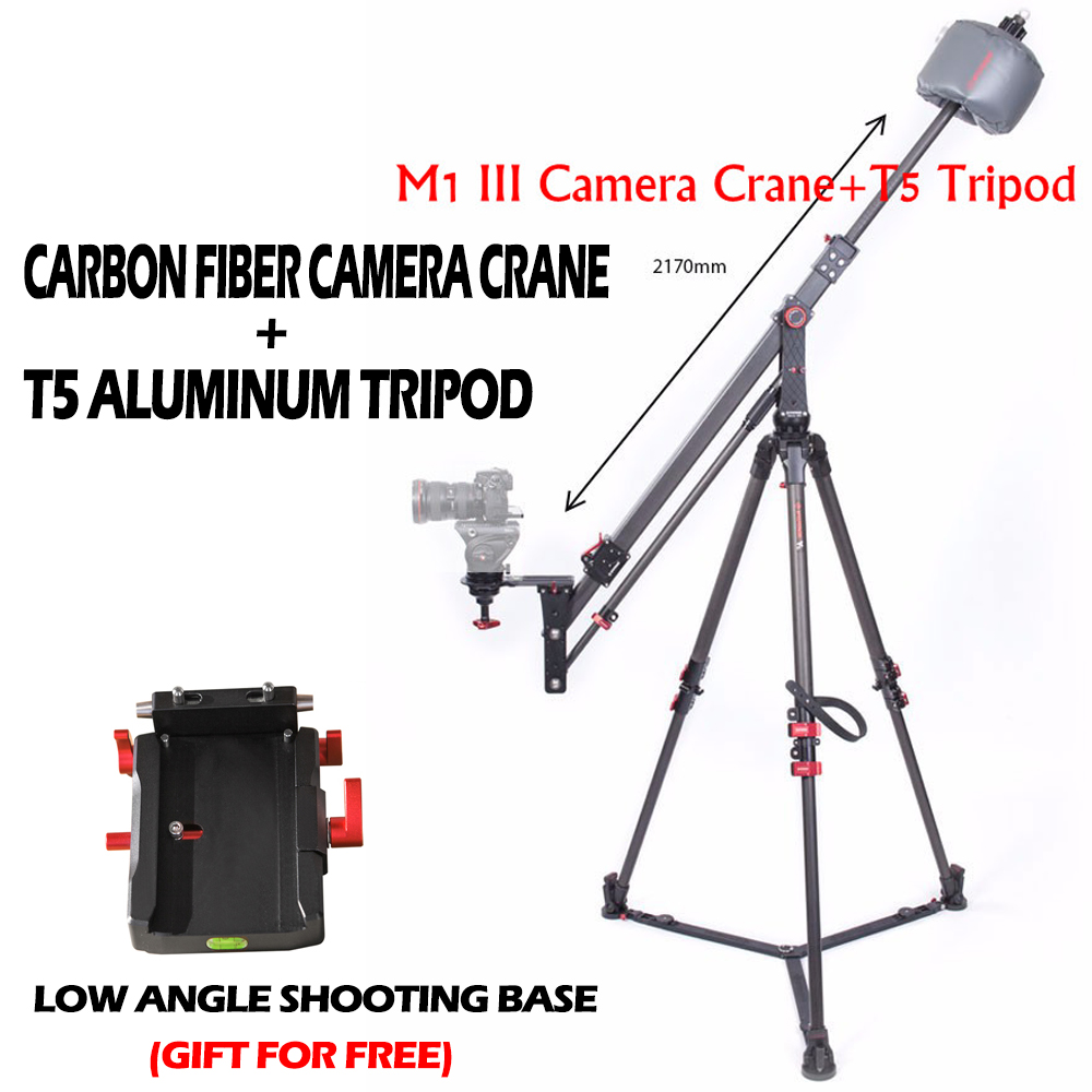 IFOOTAGE Professional Carbon Fiber mini Camera Jib Crane M1 III + IFOOTAGE Wild Bull T5 Aluminum Tripod Legs Stand professional carbon fiber camera crane jib arm for dslr camera and camcorders portable camera accessories flexible rocker cd50