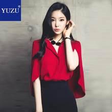 d2a0398327b YUZU Женский комплект 2 шт. костюм летние офисные красный плащ шифоновая  блузка рубашка Топы корректирующие и черный мини-юбки-к.