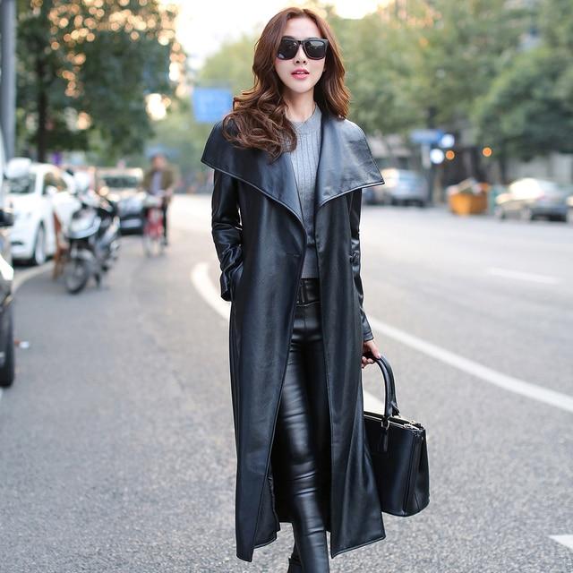 Sherhure Wide Lapel Women Jacket Coat Vintage Black PU Leather ...