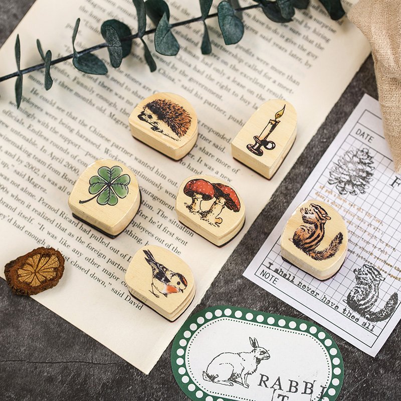 Cute Forest Animals Flower Plant Butterfly DIY Wooden Rubber Stamps For Scrapbooking Stationery Scrapbooking Standard Stamp