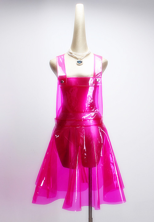 PVC Vinly Plastic Overall Dress Summer Festival Rave Clothes Wear Outfits See Through Harajuku Dresses