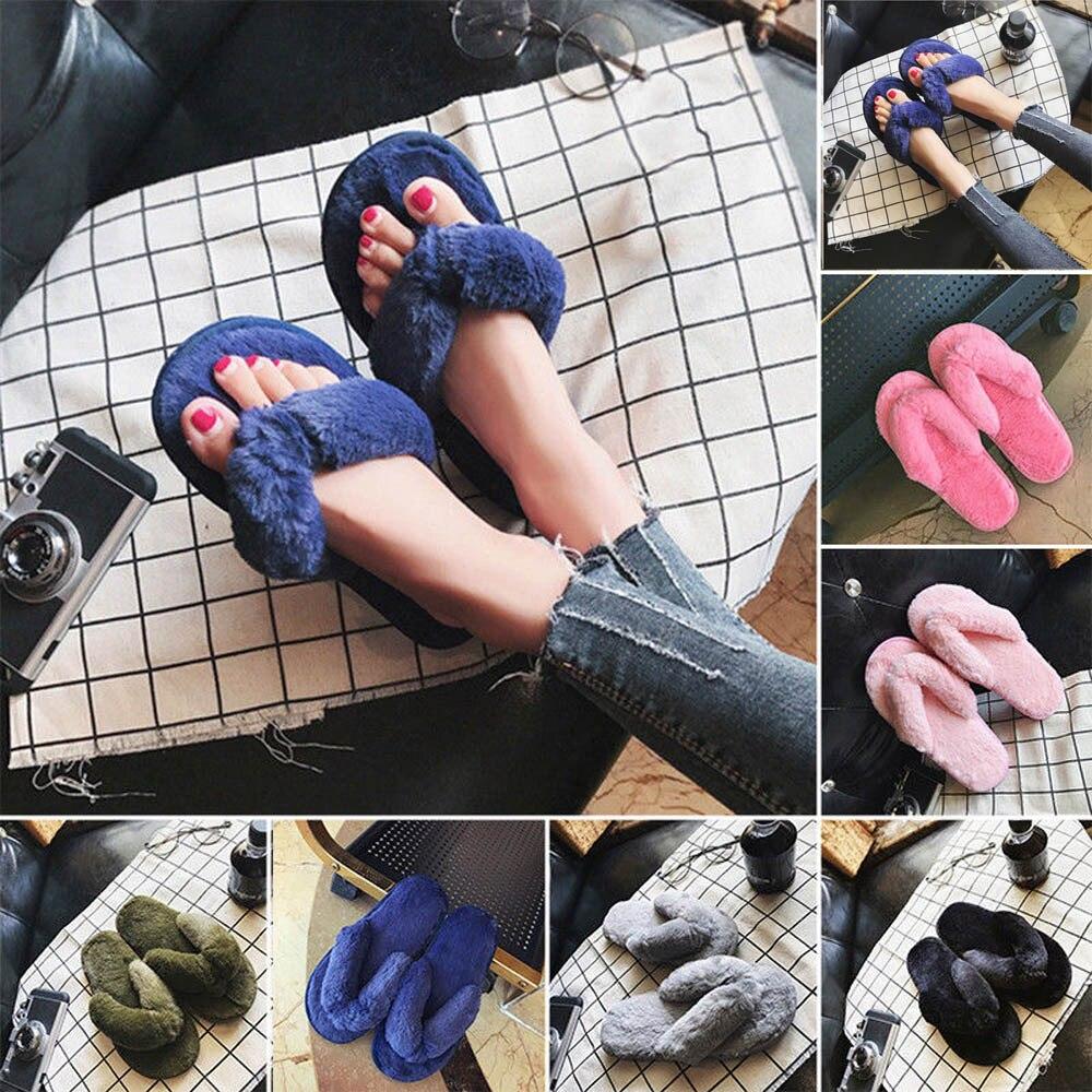 2018 zapatos mujer tacon chinelos de ver o feminina Creative Women Casual Imitation Fur Plush House Spa Flip Flops Slippers #7