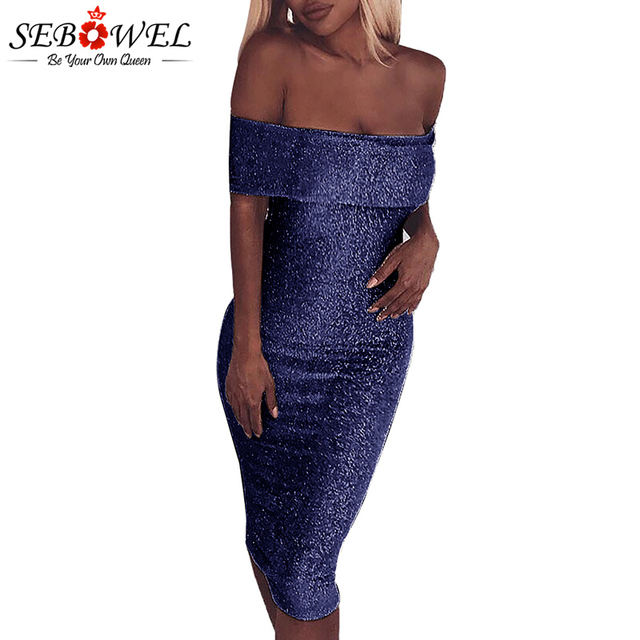 SEBOWEL Sexy Blue Sparkle Off Shoulder Bodycon Dress Women Metallic Glitter  Party Club Dress Female Slash Neck Evening Gown bfc9b908f32e