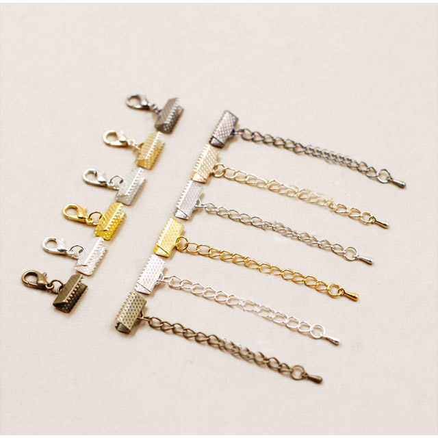 Crimp end caps beads lobster clasps extended extension chains flat leather Cord End Cap jump rings String ribbon clip Foldover