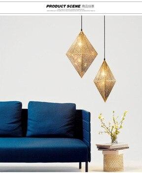Nordic postmodern สแตนเลส polyhedron droplight ห้องนั่งเล่นห้องรับประทานอาหาร cafe bar โรงแรมเรขาคณิต droplight