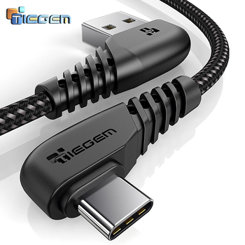 TIEGEM 90 degree USB Type C Cable 3A USB-C Cable Type-C Fast Charging Cord for Nintendo Switch Samsung S8 Oneplus 5 Pixel 2