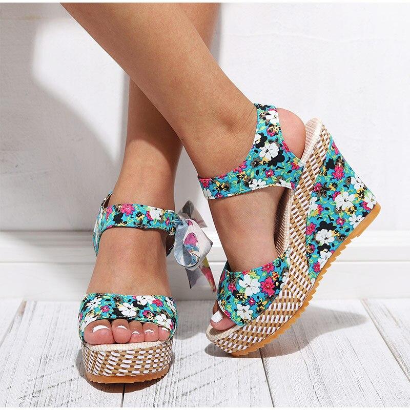 HTB1XUq7aoT1gK0jSZFrq6ANCXXaY Women Summer Wedge Sandals Female Floral Bowknot Platform Bohemia High Heel Sandals Fashion Ankle Strap Open Toe Ladies Shoes