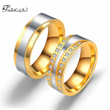 FairLadyHood 7mm Gold-color Wedding Ring for Women Men AAA+ CZ Zircon Stone Promise Jewelry