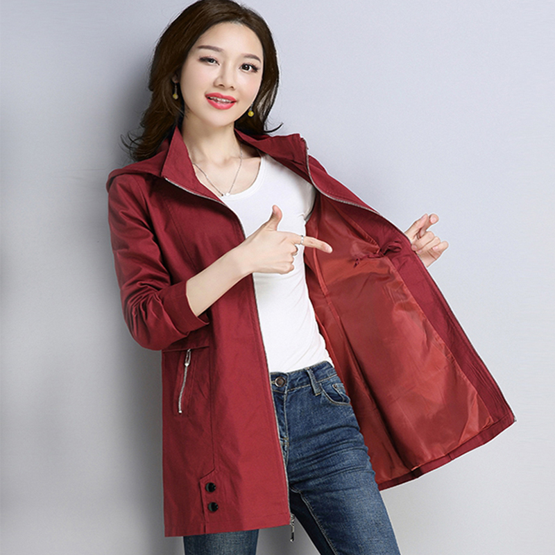 Trench-Coat Windbreakers Hooded Spring Loose Slim Autumn Womens Long Plus-Size Casual