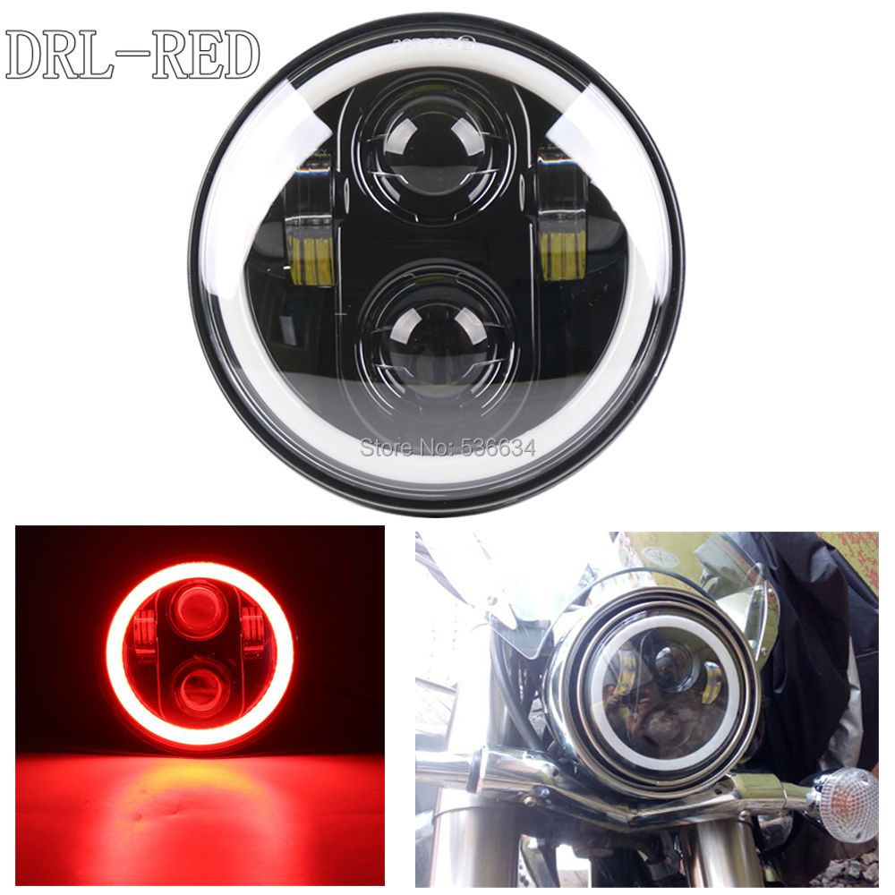 2017 New Motos Accessories 5.75 headlight motorcycle 5 3/4 led headlight for Harley 5-3/4 Motorcycle Black Projector Daymaker