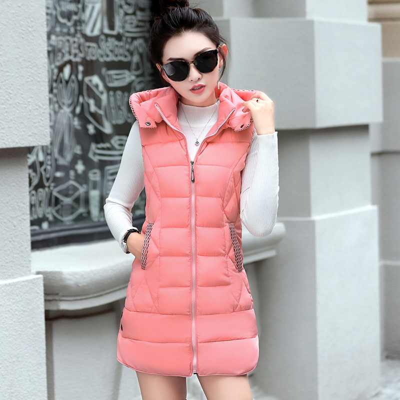 2018 Winter Mid-long Vest Women Casual Slim Thick Warm Autumn Hooded Sleeveless Waistcoat Female Cotton Padded Jacket Plus Size