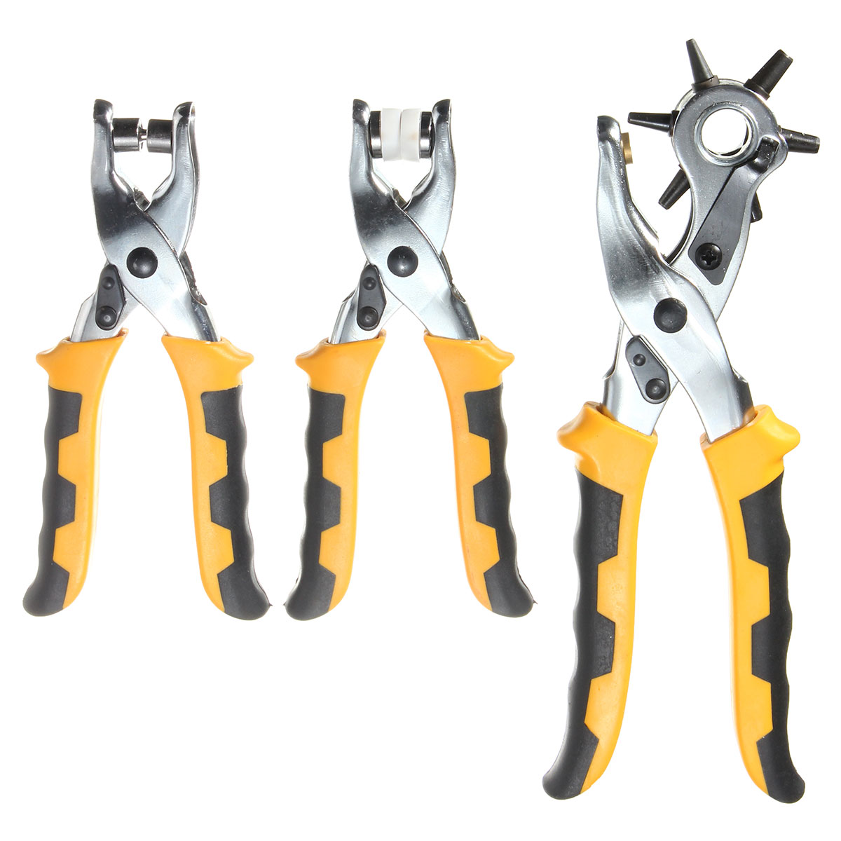 Newest 3 in1 Leather Belt Hole Punch+ Eyelet Plier +Snap Button Grommet Setter Tool Kit Colorful Steel+PVC Plastic Handle