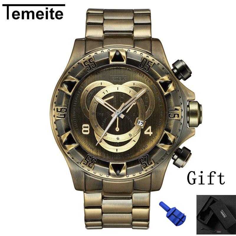 0846f2db7b0 Homens relógio Grande de quartzo de marcação TEMEITE marca à prova d  água  mens assistir