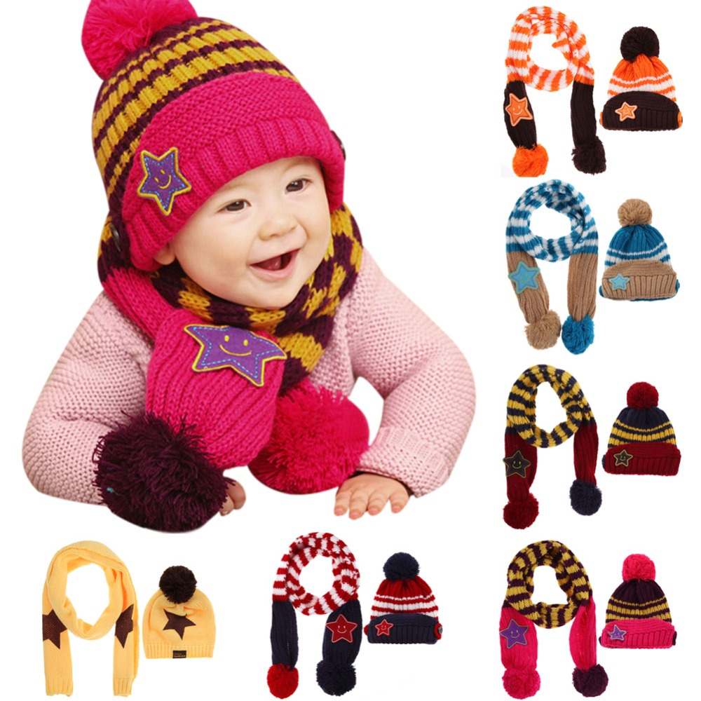 Lovely Winter Warm Children Skullies Beanies Caps 2pcs/set Kids 5 Star Printed Scarf Hat Set Baby Boys Girls Knitted Hats Caps 2017 autumn and winter womens beanie brand knitted hat turban butterfly diamond skullies cap ladies lnit hats for women beanies
