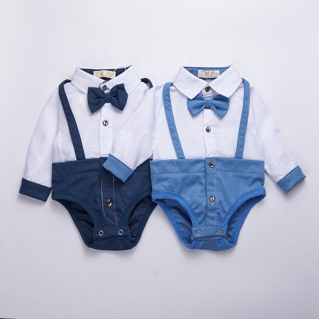 3-24 M roupa Do Bebê 2016 primavera bebê bodysuit Crianças recém-nascidas equipamento do bebê Menino luva cheia com Vestidos arco Meninas Roupas Bebes