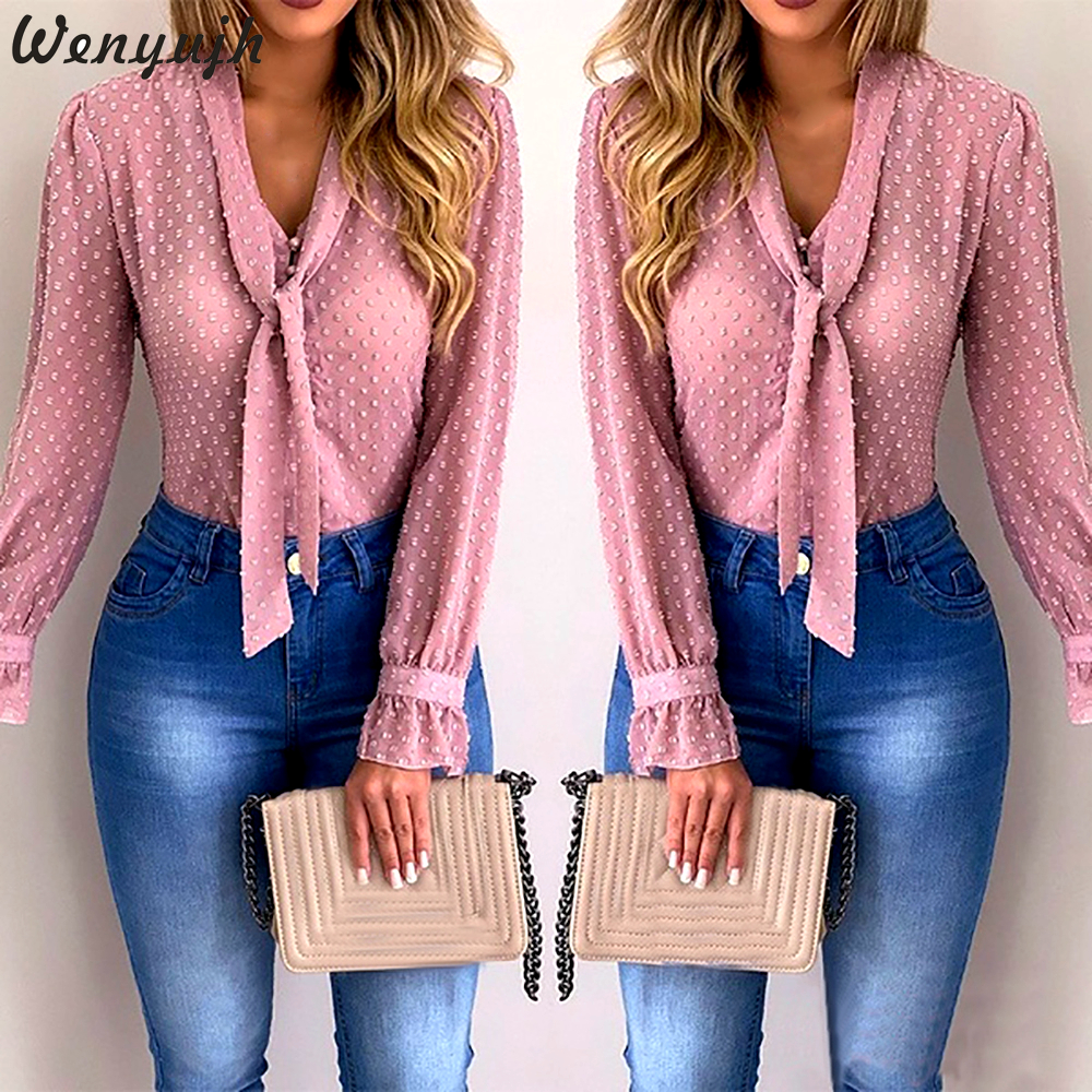 Wenyujh Women   Blouses   2019 Fashion Long Sleeve V-neck Pink   Shirt   Chiffon Office   Blouse   Slim Casual Tops Plus Size S-5XL