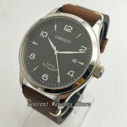 42mm Corgeut data czarny Dial szkło szafirowe automatyczny zegarek męski