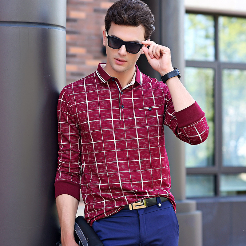 ICPANS   Polo   Dhirt Men Long Sleeve Cotton Slim Fit Casual Pattern Plaid   Polo   Shirts Men Big Size 4xl 5xl Top Tees 2018 New