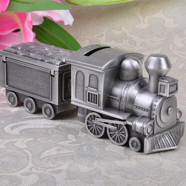 Retro Bank Design.Vintage Home Decor Retro Train Design Piggy Bank Table Decoration