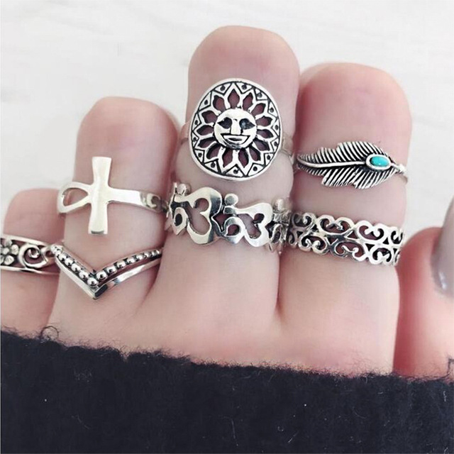 WLP Antique Silver Color Cross Crown Crystal Rhinestone Finger Rings For Women H