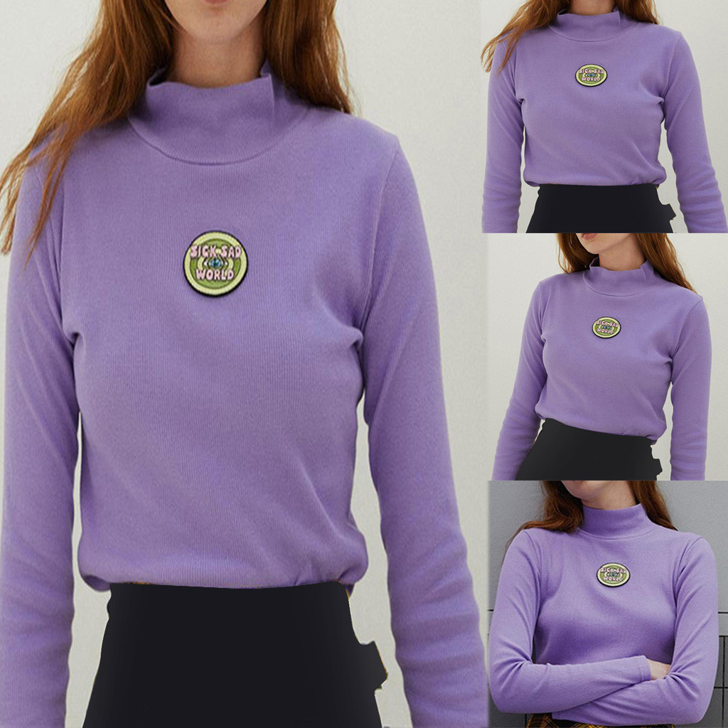 Harajuku viantge ins hot purple turtleneck long sleeve letters embroidery women crop top crop shirts