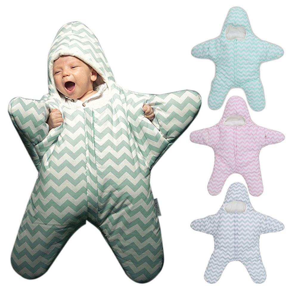 2017 New Cute Starfish Baby Sleeping Bag Unisex Winter Babies Sleep Sack Warm Baby Blanket Swaddle Sleepsacks dropshipping COOL