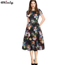 Oxiuly Vintage Summer Dress 2018 Black Flower Print A-line Style Women Short Sleeve Slim Dresses Retro Rockabilly Vestidos