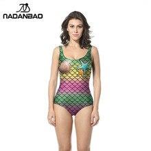 78dc642197ac7 NADANBAO One Piece Swimsuit Mermaid Star Fish Scales Printed Sexy Swimsuit  Women Bathing Suit Women Plus