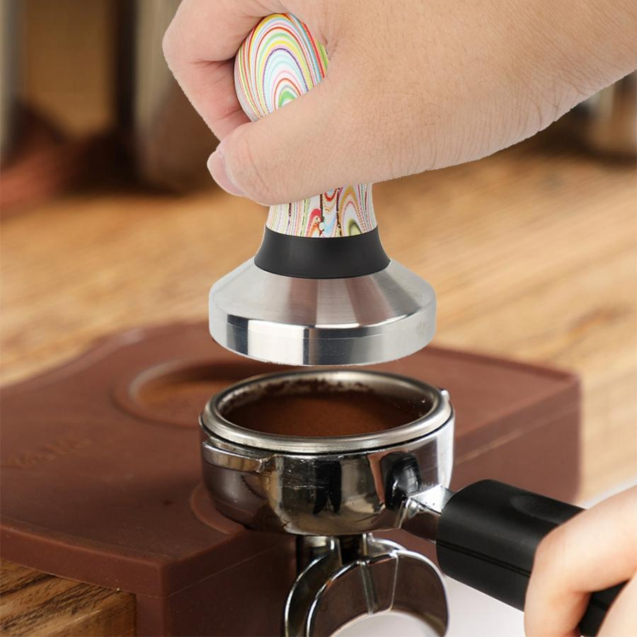 Espresso Coffee Tamper Coffeeware Tampers 58mm Handle Base Powder Press Solid Hammer Coffee Accessories Stainless Steel