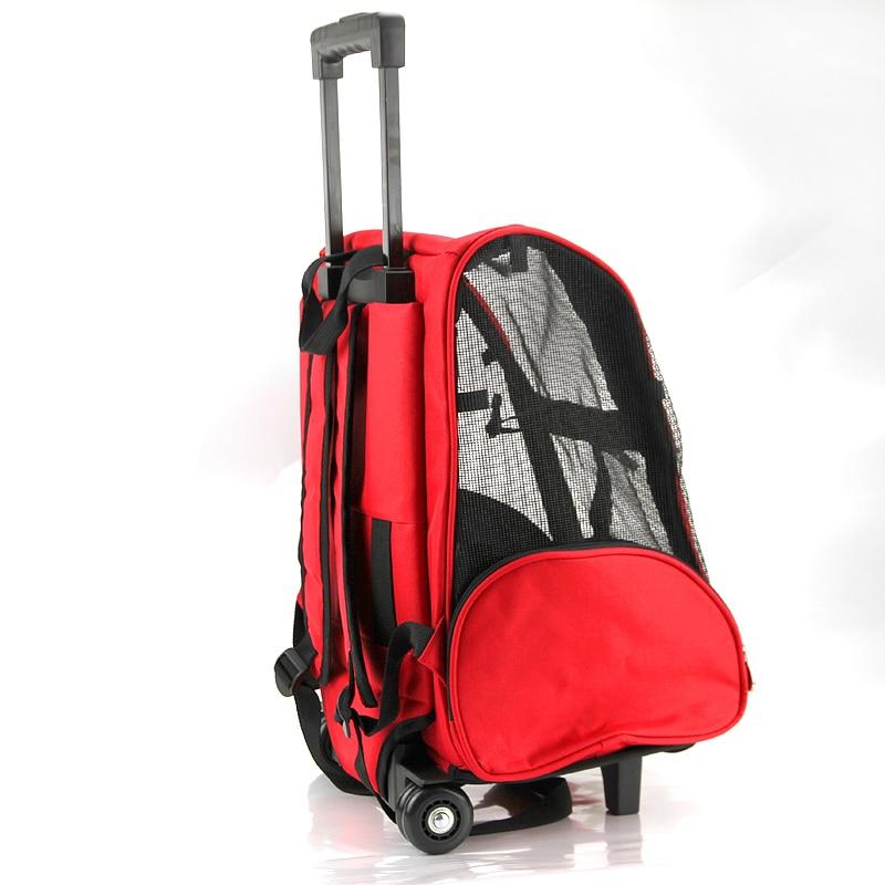 กระเป๋าสัตว์เลี้ยงแบบพกพากระเป๋ารถเข็นกระเป๋าเป้สะพายหลังสุนัขกระเป๋าเป้สะพายหลังล้อ Carrier รถเข็นเด็ก Breathable ลูกสุนัขเดินทางกระเป๋าขนส่ง-ใน กระเป๋าใส่สุนัข จาก บ้านและสวน บน   1